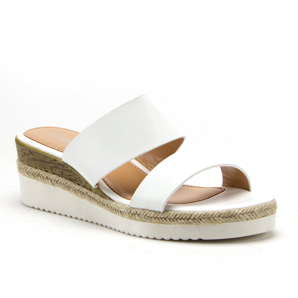 Women's Wanda-5 Stacked Flatform Espadrilles Open Toe Slides Wedged Sandals - Jazame, Inc.