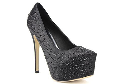Women's Candie Embellished Hidden Platform Pumps Stiletto Heels - Jazame, Inc.