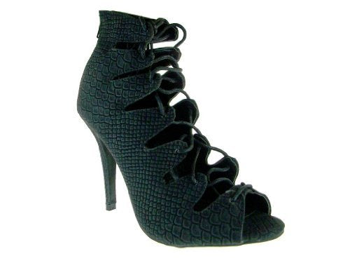 Women's Jenson-45A Gladiator Lace Up Snake Textured Heels - Jazame, Inc.