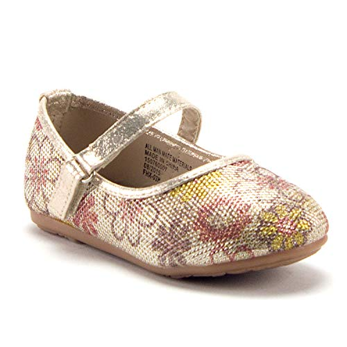 Girls FHX-03I Toddlers Mary Jane Embellished Floral Print Flats Shoes - Jazame, Inc.