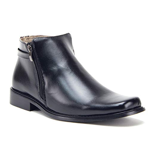 Men's 38307 Double Zipper Classic Square Toe Ankle Dress Boots (Black) - Jazame, Inc.