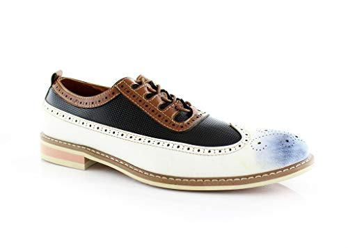Men's 20389 Wing Tip Hand Burnished Semi-Brogue Oxfords, Dress Shoes
