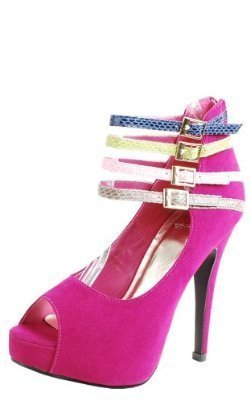 Women's Multi Color Peep Toe Platform Pump Shoes - Jazame, Inc.