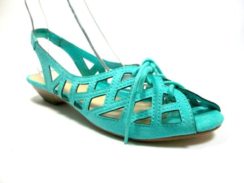 Women's Casper-01 Mint Lace up Gladiator Caged Wedge Sandals - Jazame, Inc.