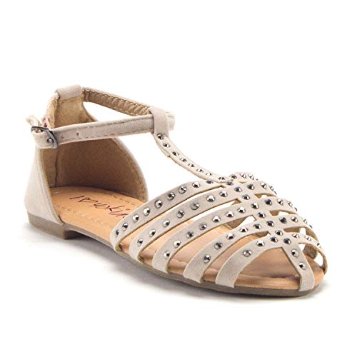 Girls Carmen-12K Gladiator Flats Embellished T-Strap Closed Toe Sandals - Jazame, Inc.