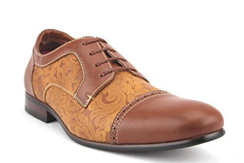 Men's 19398L Floral Print Cap Toe Lace Up Oxford Dress Shoes - Jazame, Inc.