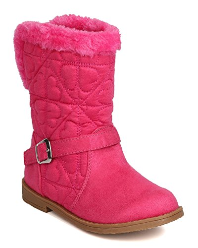 Toddler Girl's Quilted Hearts Suede Fur Riding Winter Boots - Jazame, Inc.