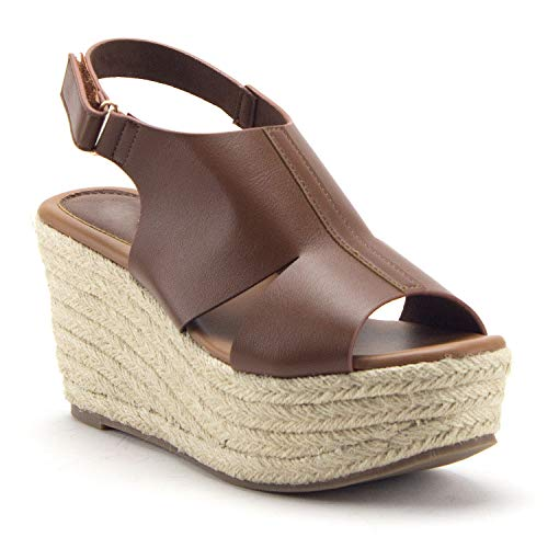 Women's Prema-02 Flatform Espadrilles Platform Sling Back Wedges Sandals Shoes - Jazame, Inc.