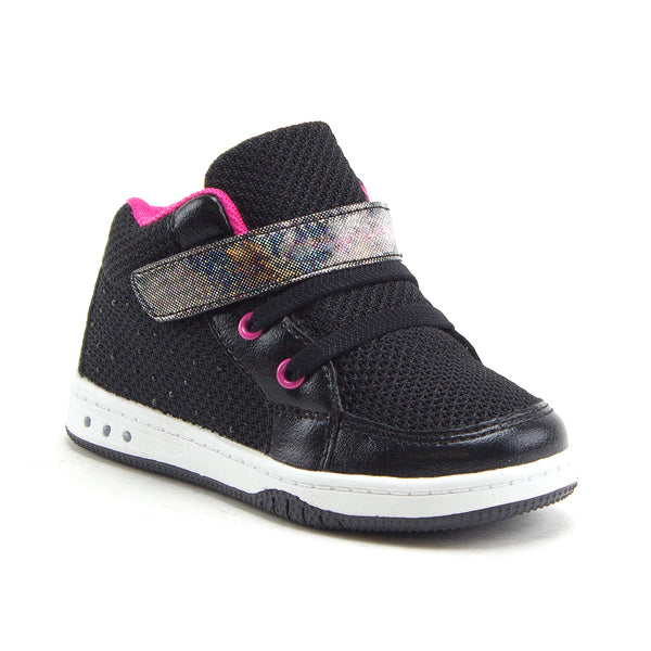 Jazamé Toddler Girls' Kids High-Top Faux Lace Easy Fashion Sneakers Shoes - Jazame, Inc.