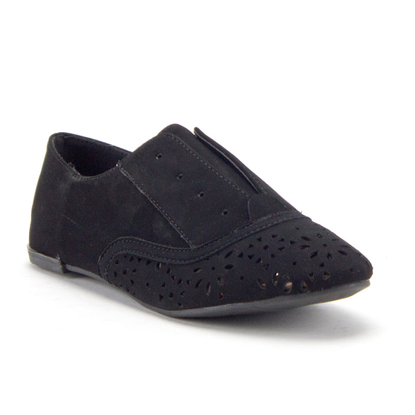 Women's Salya-707 Slip On Laser Cut Out Perforated Lace-Less Menswear Oxfords Flats Shoes - Jazame, Inc.