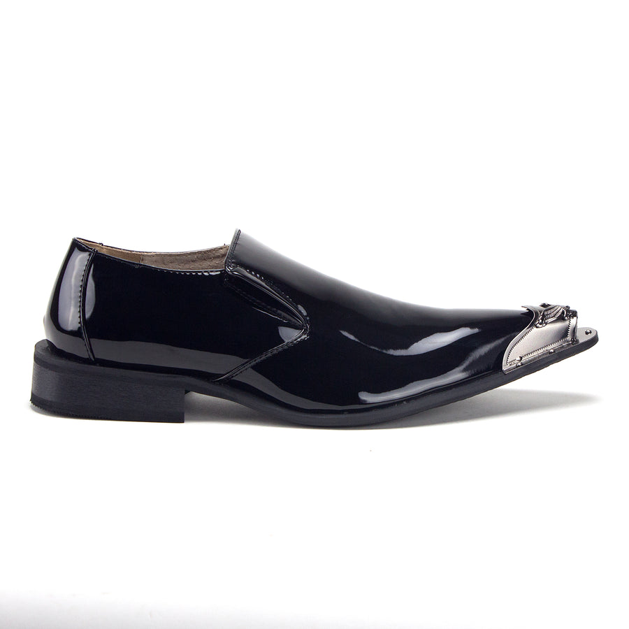 Men's 15811 Leather Lined Metal Tip Pointy Toe Slip On Loafers Dress Shoes - Jazame, Inc.