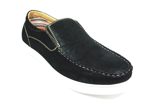 Mens Polar Fox Canvas Casual Loafers Black Shoes 30198