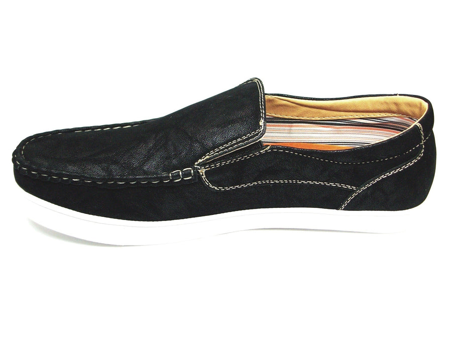 Mens Polar Fox Canvas Slip On Casual Loafers Shoes 30198 Black-377 - Jazame, Inc.