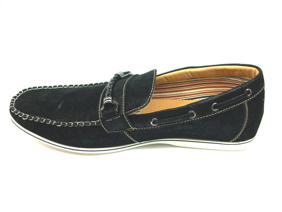 Mens Polar Fox Boat Suedette Moccasin Casual Loafers Shoes 30218 Black-377 - Jazame, Inc.
