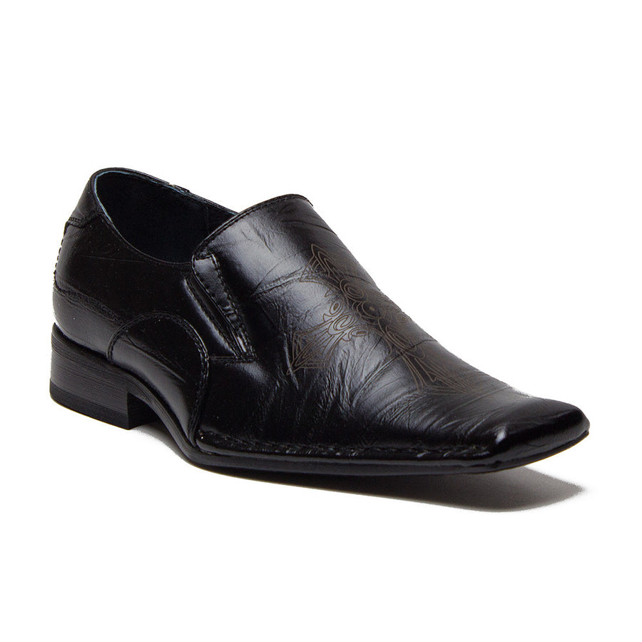 Boys Conal Cross Design Slip On Dress Loafers Shoes K-61002 Black-85 - Jazame, Inc.