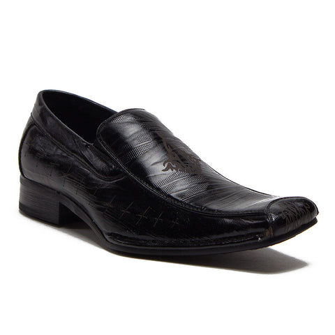 Boys Conal Squared Toe Dress Design Loafers Shoes K-61010 Black-91