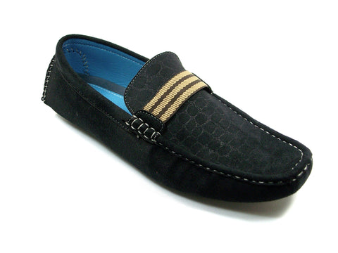 Mens Bravo Moccasin Driver Slip On Casual Loafers MOC-1 Black
