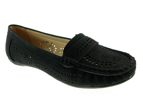 Women's LL-01 Laser Cut Slip On Moccasin Flat Shoes - Jazame, Inc.