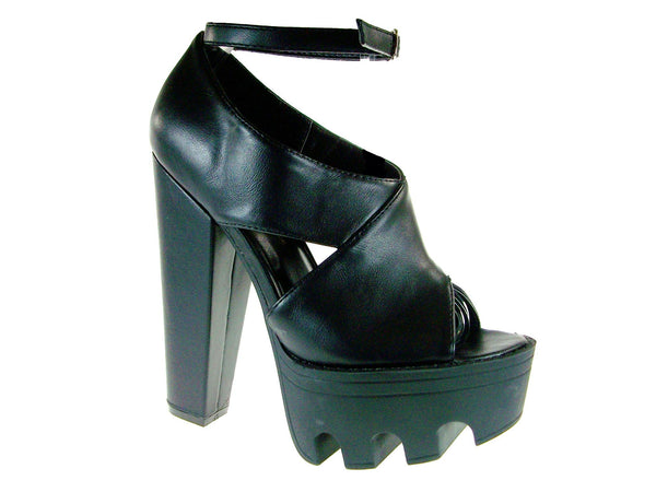 Women's Vive-01 Open Toe Chunky Platform Heel Sandals - Jazame, Inc.