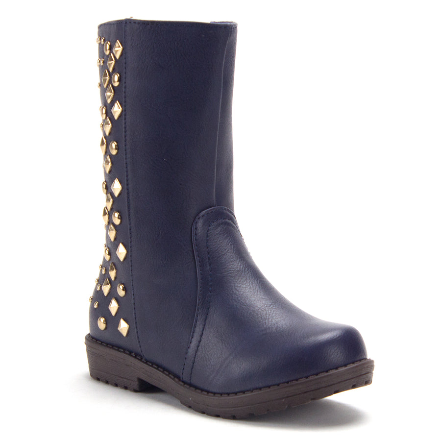 Girls Chloe Tall Studded Biker Inspired Boots - Jazame, Inc.