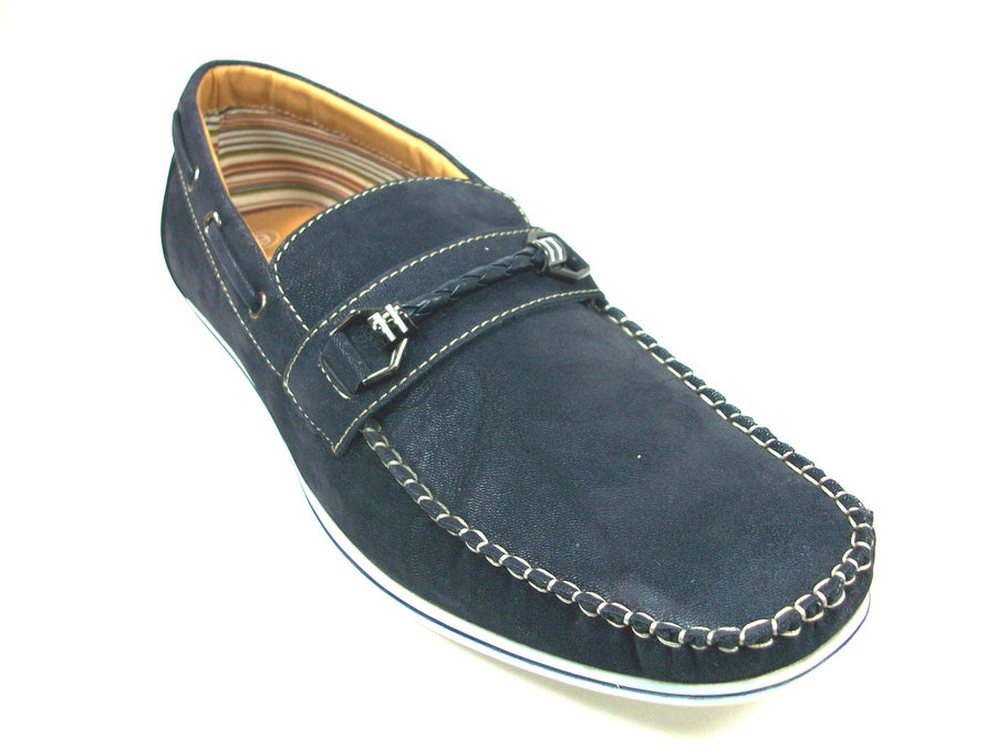 Mens Polar Fox Boat Suedette Moccasin Casual Loafers Shoes 30218 Blue-379 - Jazame, Inc.