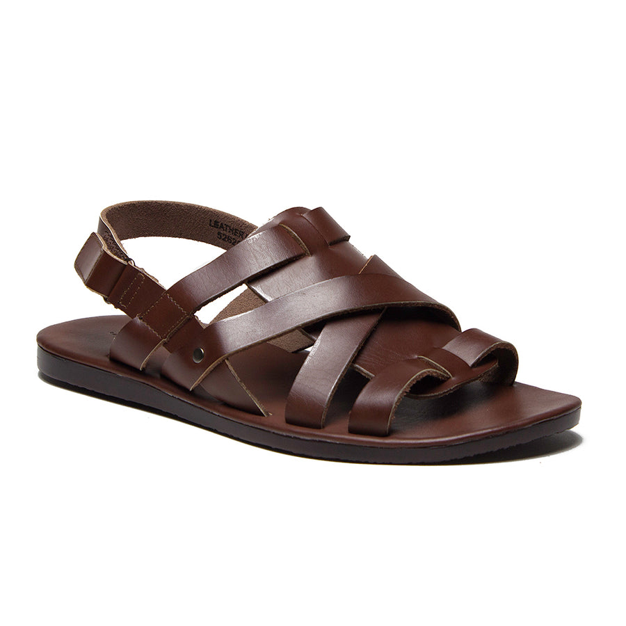 Men's 52626 Leather Roman Gladiator Criss Cross Sling Back Sandals - Jazame, Inc.