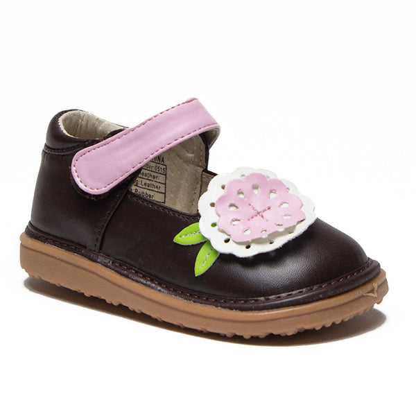 Mooshu Toddler Girl's Big Flower Squeaky Mary Jane Flats Shoes - Jazame, Inc.