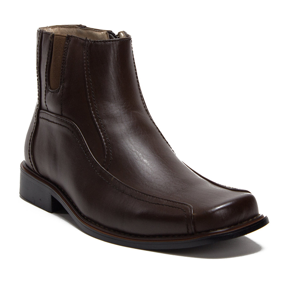 Men's 38912 Leather Lined Ankle High Moto Zipped Chelsea Dress Boots