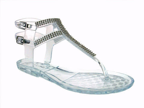 Women's Wild Diva T-Strap Jelly Fashion Sandals Joanie-02 Clear