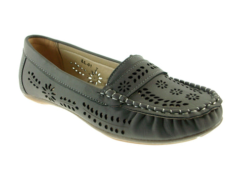 Ladies Rocus Laser Cut Moccasin Fashion Flats LL-01 Grey
