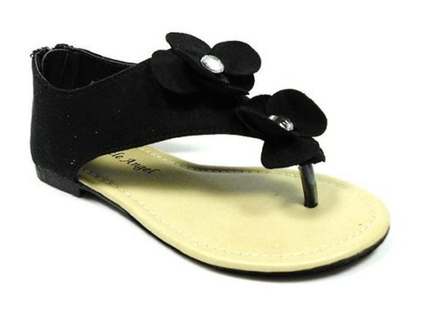 Girls Little Angel Double Floral Suedette Sandals Jessie-704 Black