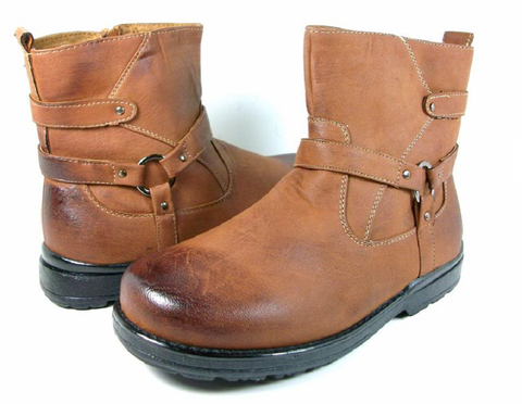 Boys Conal Ankle Distressed Ridding Boots K-5807 Brown-163 - Jazame, Inc.