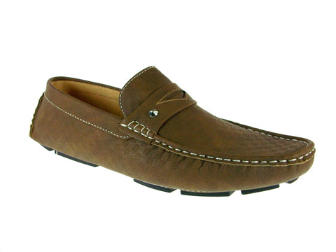Mens Rocus Boat Slip On Moccasin Casual Loafers Shoes WH-02 Khaki