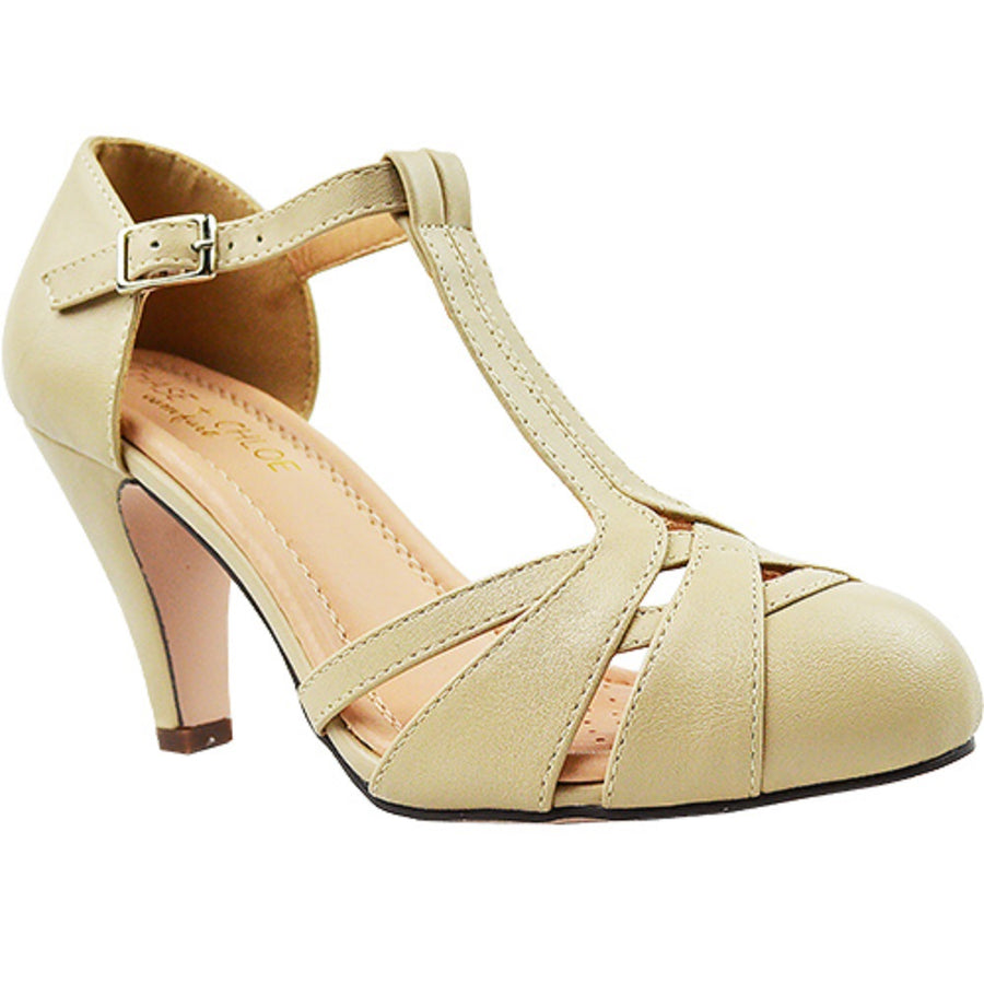 Chase & Chloe Kimmy-63 Women's Vintage Pump Shoes with T-Strap Ankle Closure - Jazame, Inc.