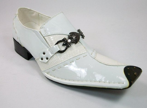 Mens Golden Horse Studded Tip Sword Buckle Loafers Dress Shoes MO734-23 White - Jazame, Inc.