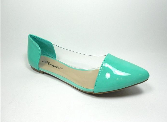 Women's Slip On Lucite Ballerina Pointy Toe Flat Shoes Dia-04