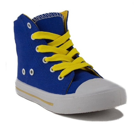 Girls Pinky Lace Up Canvas High Top Sneakers Poppy-01 Blue - Jazame, Inc.
