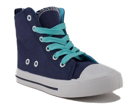 Girls Pinky Lace Up Canvas High Top Sneakers Poppy-01 Navy - Jazame, Inc.