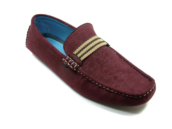 Mens Bravo Moccasin Driver Slip On Casual Loafers MOC-1 Red - Jazame, Inc.