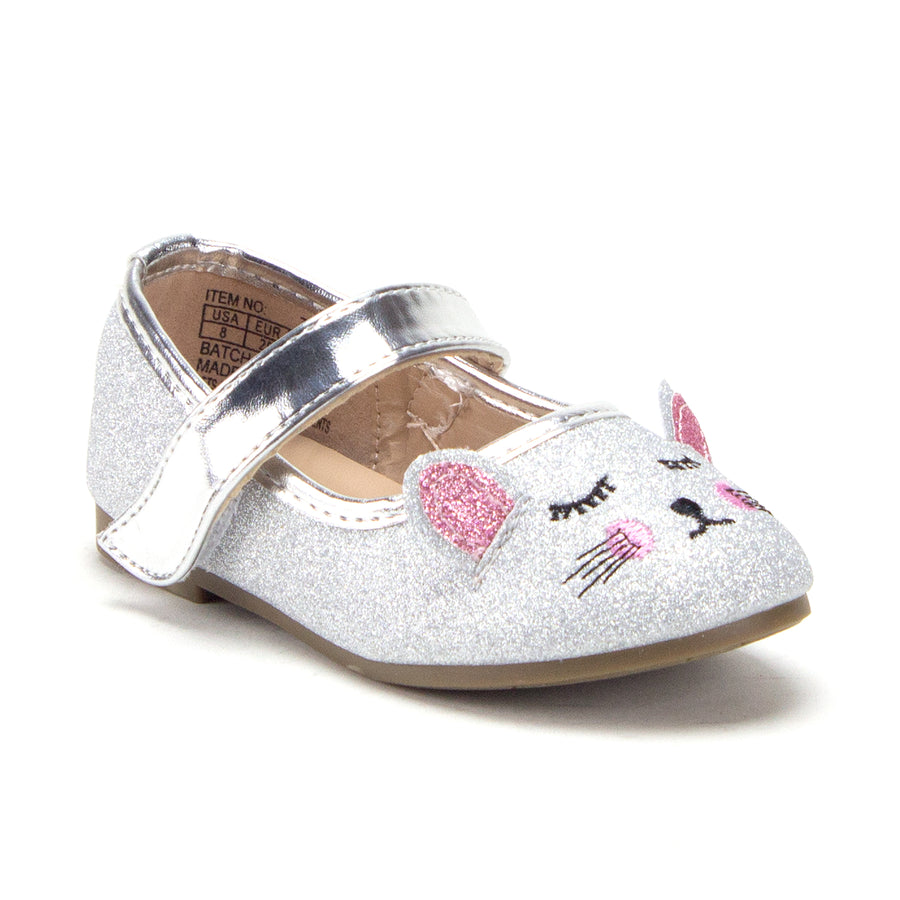Toddler Little Girls Mary Jane Glitter Ballerina Flats Shoes - Jazame, Inc.