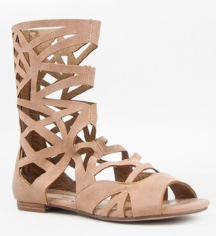 Women's Breckelles Caged Gladiator Tan Sandals
