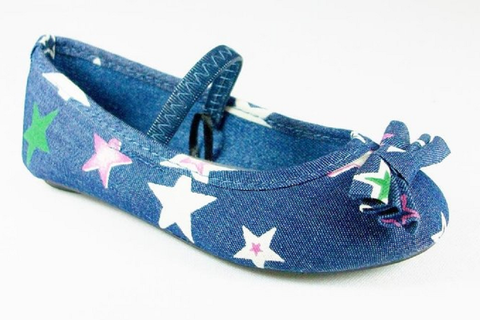 Girls Simply Petals Star Print Mary Jane Flats Starie-7575 Denim