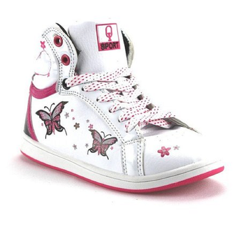 Girls Ositos Sport High Top Lace Up Butterfly Sneakers TBT-07K White/Fuchsia - Jazame, Inc.