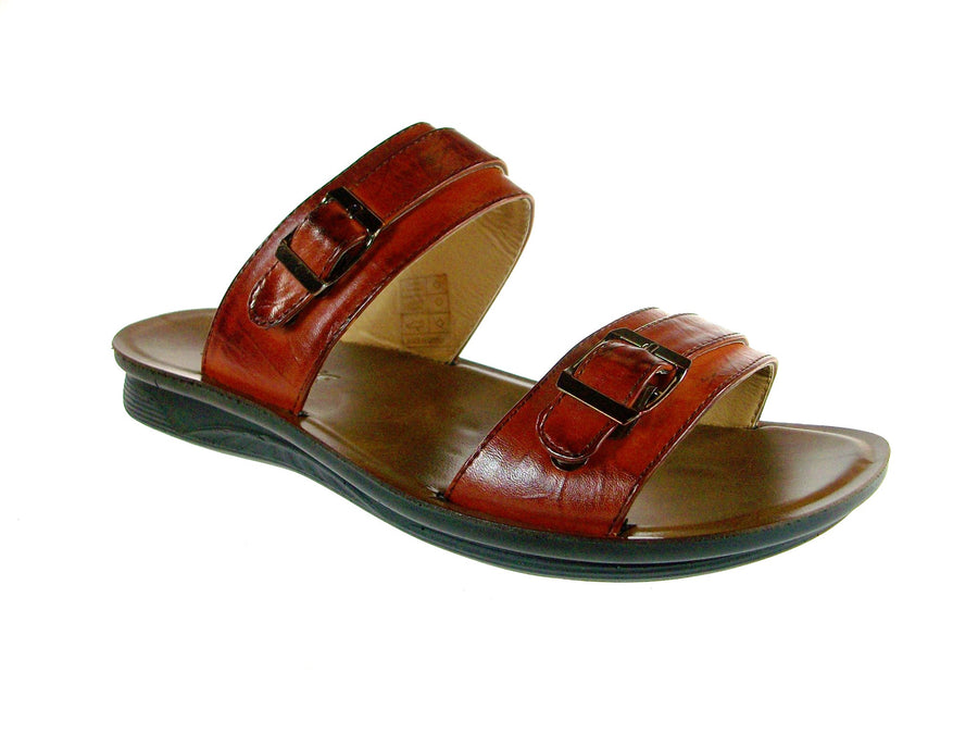 Mens Majestic Double Strap Slip On Sandals 28523 Tan - Jazame, Inc.