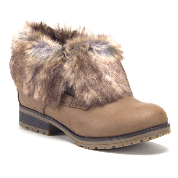 Women's Wynne Ankle Bootie Fold Down Fur Combat Winter Chukka Boots