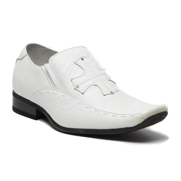Boys Conal Cross Patch Slip On Dress Loafers Shoes K-61005 White-17 - Jazame, Inc.