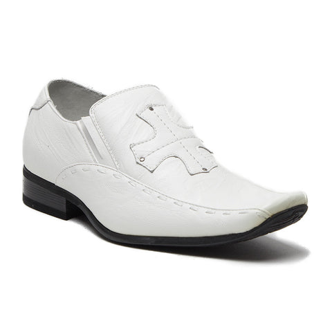Boys Conal Cross Patch Slip On Dress Loafers Shoes K-61005 White-17