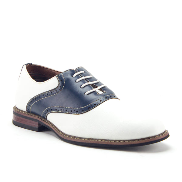 Men's 19268A Two Tone Saddle Lace Up Oxfords Dress Shoes - Jazame, Inc.