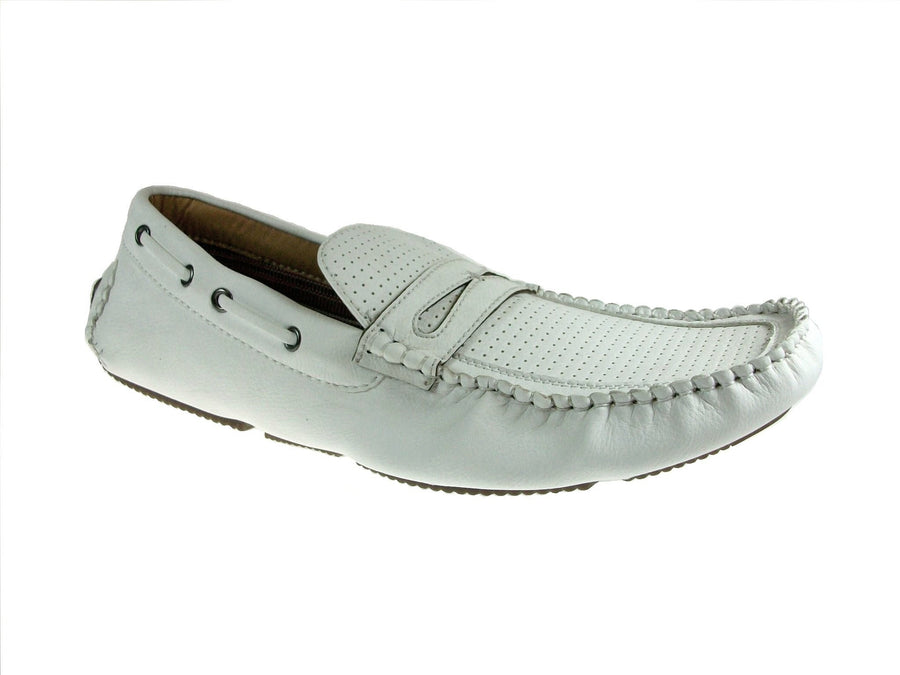 Mens Polar Fox Driver Moccasin Casual Loafers Shoes 13005 White-390 - Jazame, Inc.