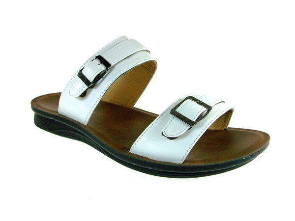 Mens Majestic Double Strap Slip On Sandals 28523 White - Jazame, Inc.